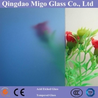 China 3-15mm Acid Etched Blue Glass, Frosted Glass on sale