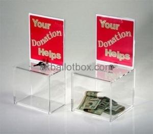 China China acrylic box manufacturer custom acrylic donation bins acrylic donation box DB-008 on sale