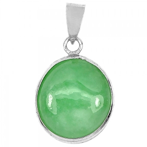 China 1.19 G. Real 925 Sterling Silver Pendant Natural Gem Oval Cabochon Green Jade[Pendant] on sale