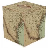 South Texas Coast Antique Map Tissue Box Cover