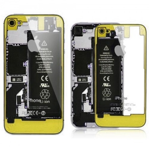 China iPhone 4S Transparent Glass Back Cover  Yellow on Black Frame on sale