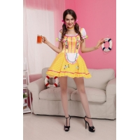 China Yellow Beer Girl Maid Cosplay Costume on sale