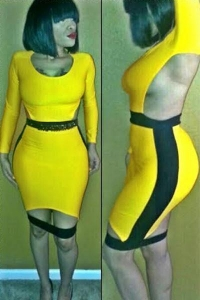 China Club Dresses Yellow and Black Cutout Back Bodycon Dress with Slit on sale