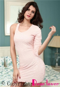 China Club Dresses Pink Sequined Single 3/4 Sleeve Dress on sale