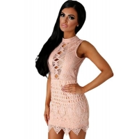 Club Dresses Nude Crochet Cut out Mini Dress