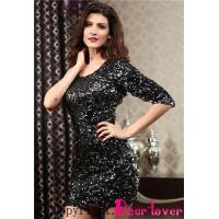 Club Dresses Black Sequined Single 3/4 Sleeve Dress