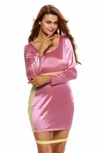 China Big Sale Shining Pink Yellow Party Bodycon Dress with Slit on sale