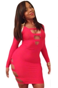 China Big Sale Pink Sexy Cut-Out Long Sleeves Party Bodycon Dress on sale