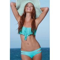 Big Sale Green Flounced Bandeau Top with Crotchless Panty