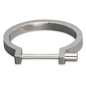 China Engrave Silver Stainless Steel Screw Bangle on sale