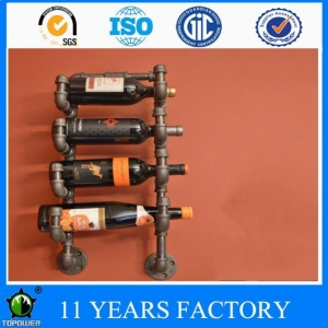 China Industrial Style Pipe Design 4 Rack Wine Bottle Storage Shelves for Bar Salon on sale