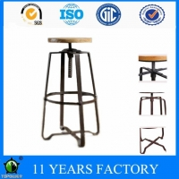 Antique Village Designer Metal Adjustable Swivel Bar Stool with Round Pinewood Seat