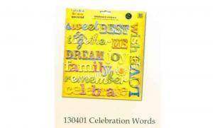 China Chipboard sticker 130401 celebration words on sale