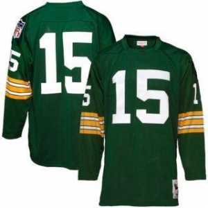 China Green Bay Packers #15 Bart Starr Green Long Sleeve Throwback Collectible Jersey on sale