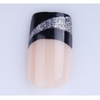 China Fashion French silver glitter french design nail tips on sale