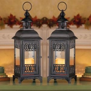 China Candle Lanterns Black Metal LED Flameless Candle Rustic Lantern on sale