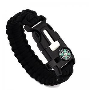 China Paracord Lanyard Strings Flint Fire Starter Compass Paracord Survival Bracelet on sale