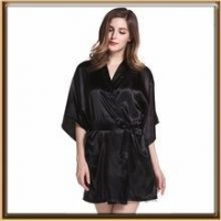 China Solid color lady silk robe on sale