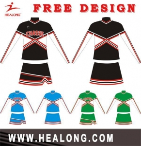 China 100% Polyester Custom Design Sublimation Cheerleading Uniform on sale