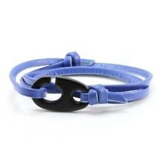 China Handmade men fashion jewelry personalized blue genuine cowhide leather cuff bracelet on sale