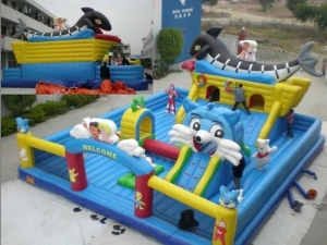 China inflatable ostrich shape fun city with giant slide and rock climbing wall on sale