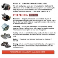 China Forklift Starters and Alternators on sale