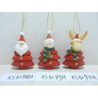 China 3 Assorted Santa&Snowman&Reindeer Ceramic Christmas Tree Ornaments on sale