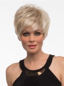 China Top Short Blonde Straight Synthetic Wigs on sale