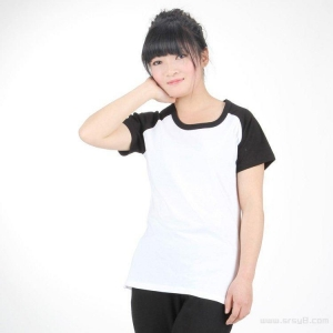China White short sleeved dress in black shoulder on sale
