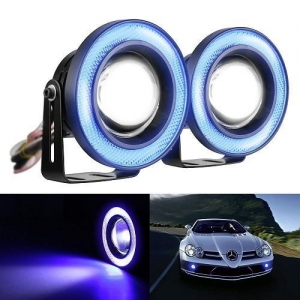 China MICTUNING 2 x High Power LED Fog Light Angel Eye Lamp Blue Halo Ring Glass Projector 3.5 inch on sale