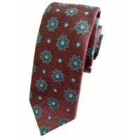 Necktie First Red Wine Flower Patterned Men