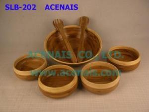 China KITCHENWAREKITCHENWARE SLB-202 Bamboo Salad Bowl Set on sale