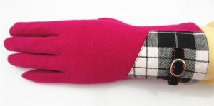 China New Style Pink Wool Gloves For Lady on sale