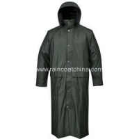 PU Raincoat Waterproof PU Long Rain Jacket For Men