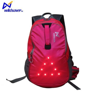 China Outdoor Sports Safety Design LED Flashing Hiking Camping Cycling Backpack Bag on sale