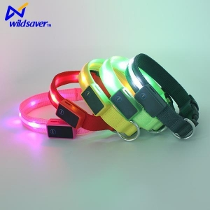 China USB Rechargeable Pet Personalized LED Flashing Dog Collars with Velcro and LED Lights on sale