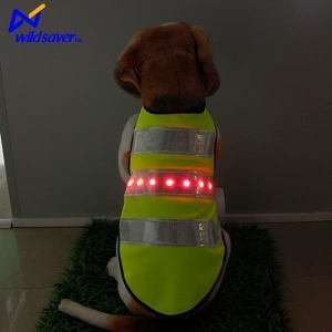 China New Luminous Pet Clothing Safety LED Light Up Pet Clothes Warning Vest for Dogs on sale