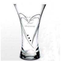 page Engraved Swarovski Glass Heart Vase