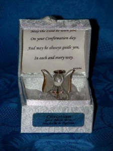 China page Confirmation Personalised Angel poem box on sale