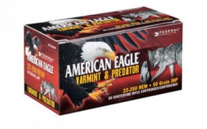 China Federal American Eagle Varmint & Predator, 22 Hornet, 20 Grain, Tipped Varmint, 50 Round Box on sale