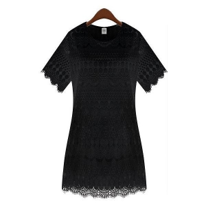 China Women's Clothing Women Black Lace Dress on sale