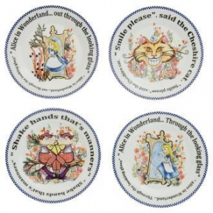China Alice in Wonderland ALICE THE LOOKING GLASS Dessert Plates, 7.5 inch, Set/4 on sale