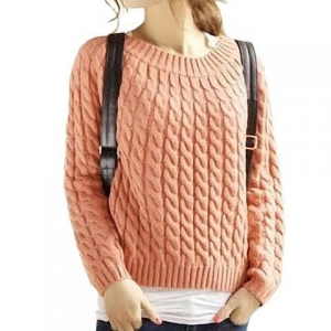 China Womens Sweaters Girls Slash Neck Cable Knitting Pattern on sale