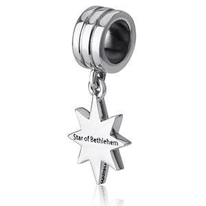 China Star of Bethlehem Hanging Bracelet Charm, Sterling Silver on sale