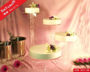 China Tiered Wedding Cake Stand / Clear Cupcake Stand on sale