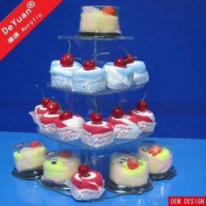 China acrylic cake stand Wedding Cake Stand Hire / Cake And Cupcake Stand Heart Shape on sale