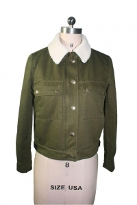 China USA Style Popular Green Suede Leather Outdoor Women Coat Winter Jacket White Warm Collar on sale
