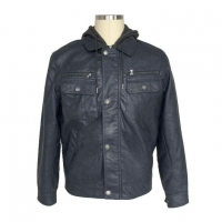China Hot Sale Men Classic Brown Blue PU Leather Biker Motorcycle Warm Jacket With Hood For Sale on sale