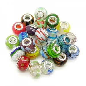 China European style beads, Large hole lampwork glass bead with brass core in platinum plating, Assorted c on sale