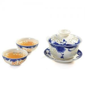 China Tea Set Blue Flowers Kung Fu Tea Set on sale